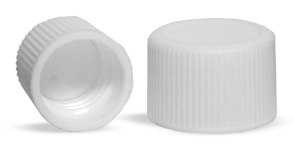 20/400  Plastic Caps, White Polypropylene Ribbed PE Lined Caps