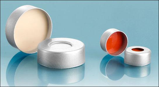 Silver Aluminum Crimp Caps w/ Silicone Septas