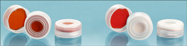 Plastic Caps, 11 mm Clear Plastic Snap Caps w/ Silicone Septas