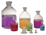 Narrow Mouth Glass Reagent Bottles w/ Ground Glass Stoppers