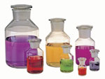 Clear Glass Wide Mouth Reagent Bottles w/ Ground Glass Stoppers