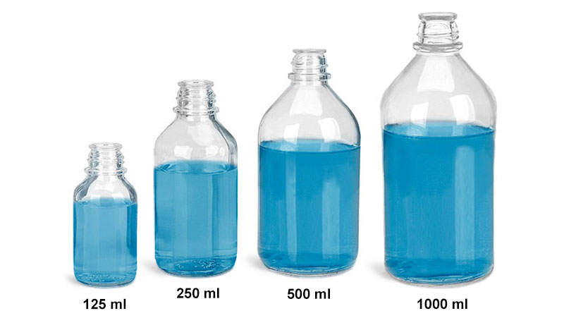 Glass Laboratory Bottles, Clear Glass Media Bottles (Caps Not Included)