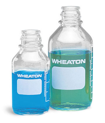 Glass Laboratory Bottles, Clear Glass Media Bottles w/ Safety Coating (Caps Not Included)