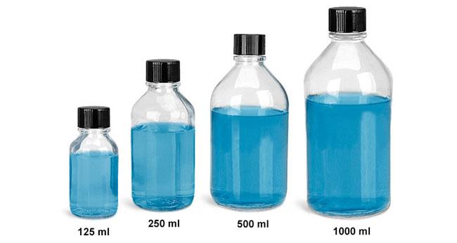Glass Laboratory Bottles, Clear Glass Media Bottles w/ PE Lined Black Phenolic Caps