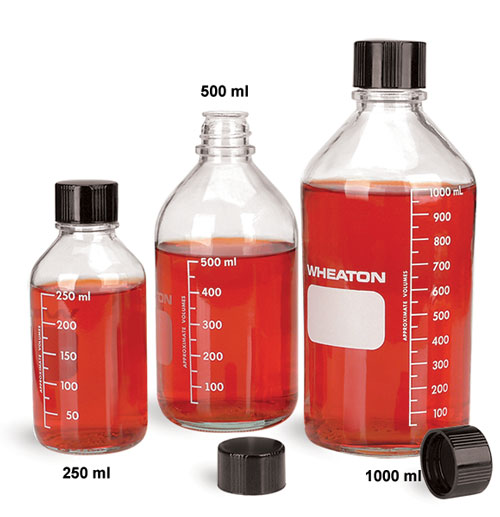 Glass Laboratory Bottles, Clear Glass Graduated Media Bottles w/ Rubber Lined Black Phenolic Caps