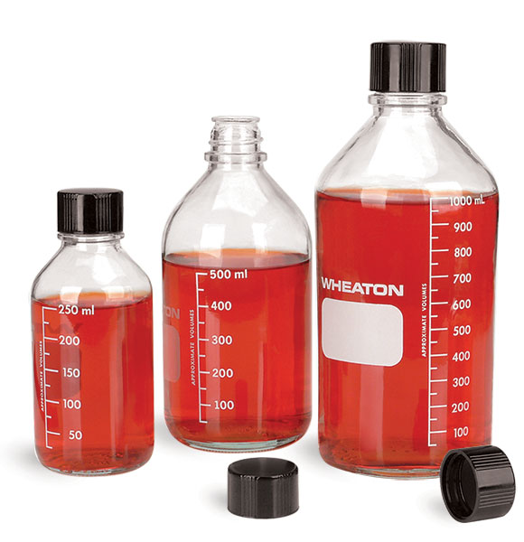 Clear Glass Graduated Media Bottles w/ Rubber Lined Phenolic Caps