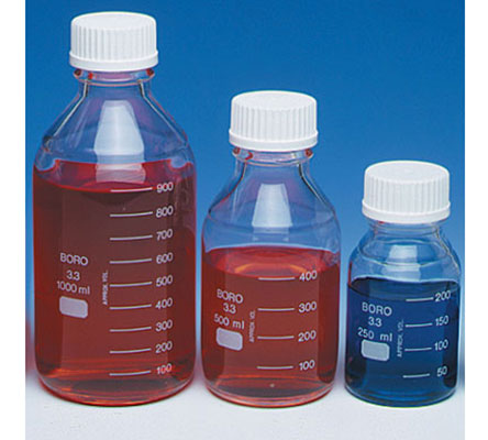 Clear Glass Lab 45 Safety Coated Media/Reagent Bottles w/ Screw Caps