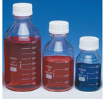 Glass Laboratory Bottles, Lab 45 Safety-Coated Glass Media/Reagent Bottles w/ Screw Caps