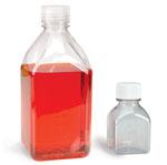 Sterile Square PET Media Bottles w/ Caps