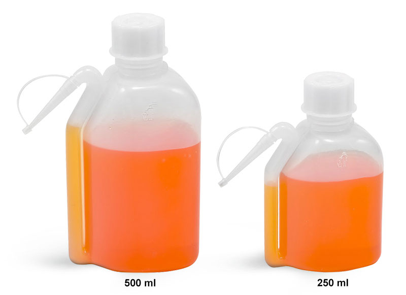 Wash Bottles, LDPE Integral Tube Plastic Wash Bottles