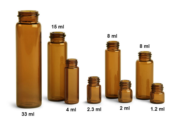 Amber Glass E-C Sample Vials (Caps Not Included)