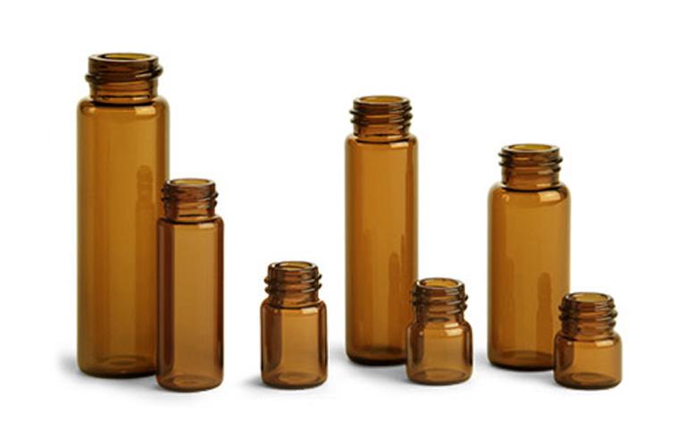 Glass Lab Vials, Amber Glass E-C Sample Lab Vials w/ No Caps Included
