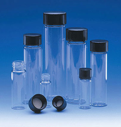 Glass Lab Vials, Clear Glass E-C Sample Lab Vials w/ Black Phenolic Rubber Lined Caps