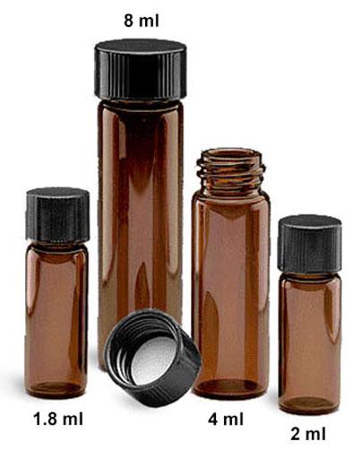 Glass Lab Vials, Amber Glass E-C Sample Lab Vials w/ Black Phenolic Rubber Lined Caps