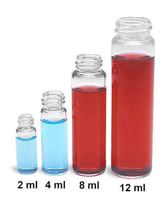 Glass Lab Vials, Clear Glass Sample Lab Vials In Partitioned Tray w/ No Caps Included