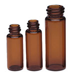 Glass Lab Vials, Amber Glass Sample Lab Vials in Partitioned Tray w/ No Caps Included