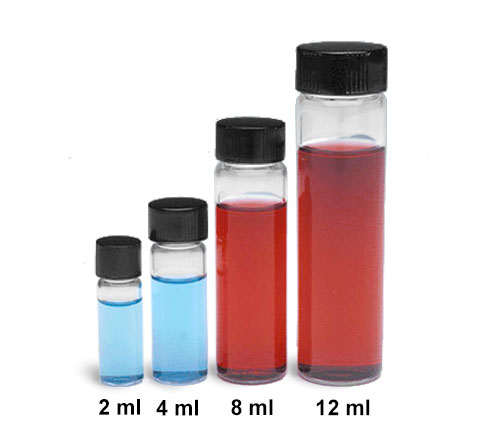 Glass Lab Vials, Clear Glass Sample Lab Vials In Partitioned Tray w/ Solid Top Black Phenolic Rubber Lined Caps