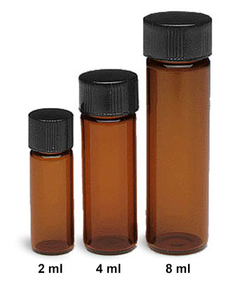 Glass Lab Vials, Amber Glass Sample Lab Vials In Partitioned Tray w/ Solid Top Black Phenolic Rubber Lined Caps