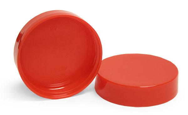 Red Plastic Smooth Unlined Caps