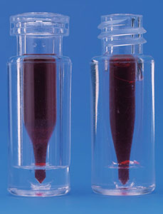 .1 ml Plastic High Recovery Vials w/ Glass Inserts