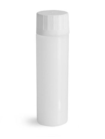 Plastic Lab Vials, Natural HDPE Scintillation Vials w/ Polypropylene Press Fit Caps