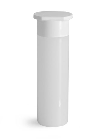 Plastic Lab Vials, Natural HDPE Scintillation Vials w/ White Plastic Hang Caps