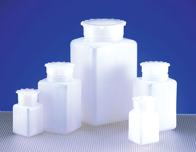 Natural HDPE Square Wide Mouth Bottles w/ Screw Caps & Internal Plug
