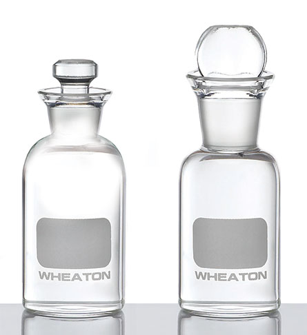 Clear Glass BOD Bottles w/ Glass Stoppers & Writing Area