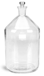 Glass Laboratory Bottles, 2L Clear Glass BOD Bottles w/ Glass Stoppers