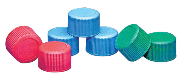 Color Coded Polypropylene Caps for Leak Proof Narrow Mouth Water Bottles