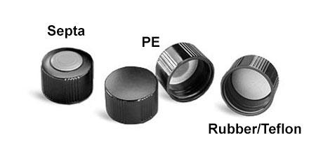 Plastic Caps, Lined Black Phenolic Screw Caps For Glass Media Bottles