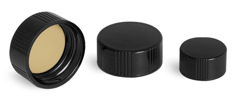 Black Phenolic Screw Caps w/ Teflon Faced Rubber Liners for E-Z Extraction Vials