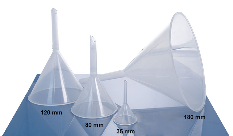 Plastic Funnels, Natural PP Analytical Funnels