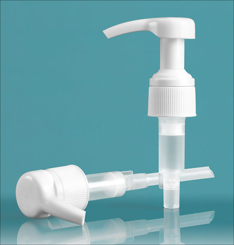 Plastic Pumps, White Lotion Pump with Lock Down Feature
