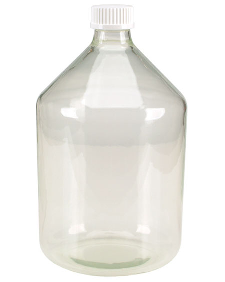 Glass Laboratory Bottles, Clear Glass Safety Coated Reservoir Bottles w/ White Screw Caps