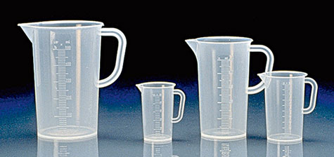 Tall Form Polypropylene Plastic Beakers w/ Handles