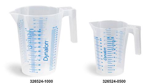 Plastic Beakers, Natural Polypropylene Graduated Beakers w/ Handles