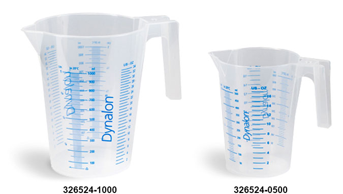 Plastic Beakers, Natural Polypropylene Graduated Beakers w/ Handles