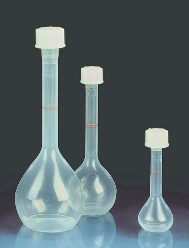PMP Plastic Volumetric Flasks w/ Screw Closures