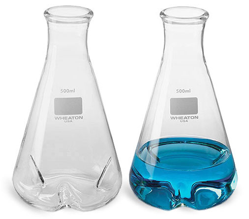 Clear Glass Shake Flasks w/ 3 Baffles
