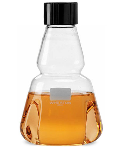 Clear Glass Trypsinizing Flasks w/ Rubber-Lined Screw Caps