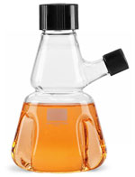 Clear Glass Trypsinizing Flasks w/ Pourout and Rubber-Lined Screw Caps