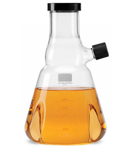 Clear Glass Trypisinzing Flasks w/ Pourout, Graduations and Rubber-Lined Screw Caps