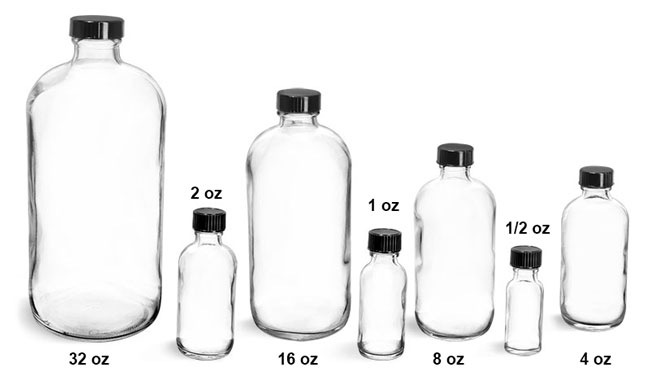 Glass Laboratory Bottles, Clear Glass Round Bottles w/ Black Cone Lined Caps