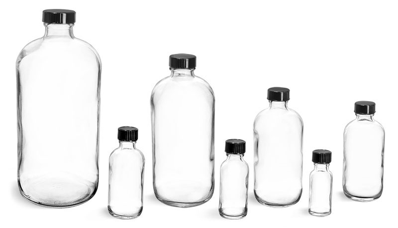 Clear Glass Round Lab Bottles w/ Cone Lined Caps