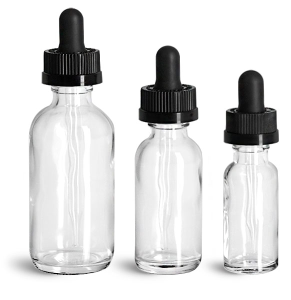 Glass Dropper Bottles, Clear Glass Boston Round Bottles w/ Black Child Resistant Glass Droppers