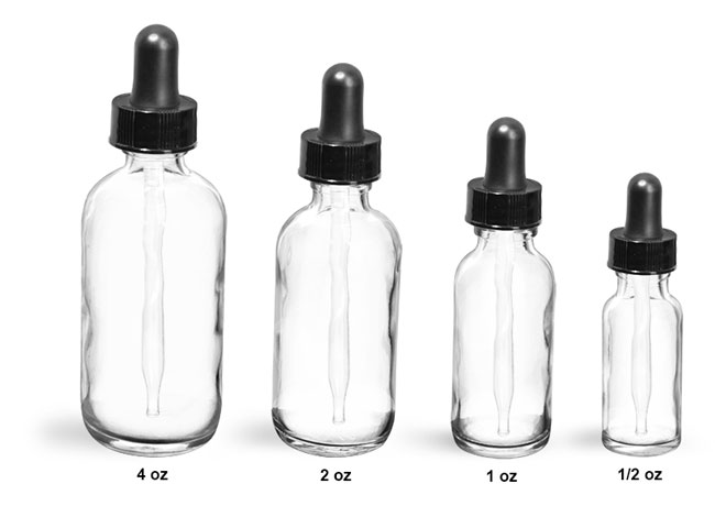 Glass Laboratory Bottles, Flint Rounds with Black Bulb Glass Droppers