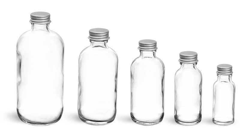 Clear Glass Lab Bottles w/ Aluminum Lined Caps