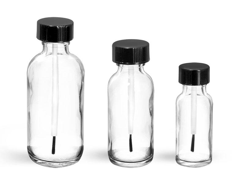 Glass Lab Bottles w/ Black Caps