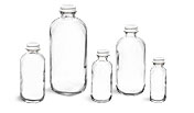 Flint Glass Lab Bottles w/ White Caps